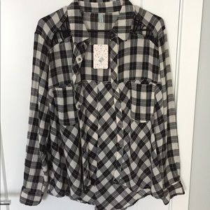 Free people black and white flannel.
